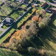 Vue aérienne de jardins à l'automne à Abbeville dans la Somme en France
