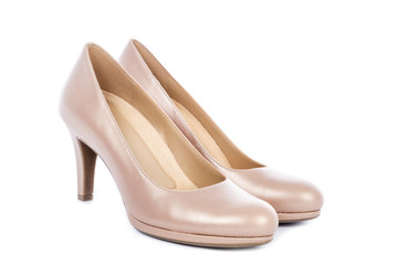 Women's Nude High Heel Pump Shoes Isolated on White