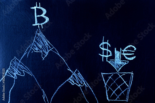 Symbol Of Bitcoin On Top Of The Mountain The Dollar And The Euro At