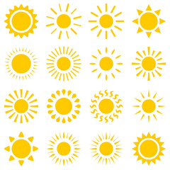 Flat simple image with sun set isolated on white background. Collection of weather icons. Vector illustration sunshine for weather forecasting. Picture with day star. Various images of sunlight.