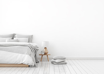Home interior wall mock up with unmade bed, plaid,cushions and lamp in white bedroom. Free space on right. 3D rendering.
