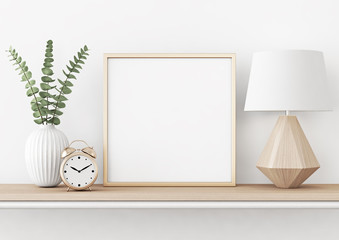 Home interior poster mock up with square metal frame, plant in vase and lamp on white wall background. 3D rendering.