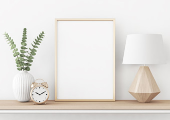 Home interior poster mock up with vertical metal frame, plant in vase and lamp on white wall background. 3D rendering.