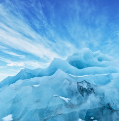 Wall Murals Glaciers Top of glacier floes with sunny sky, Iceland