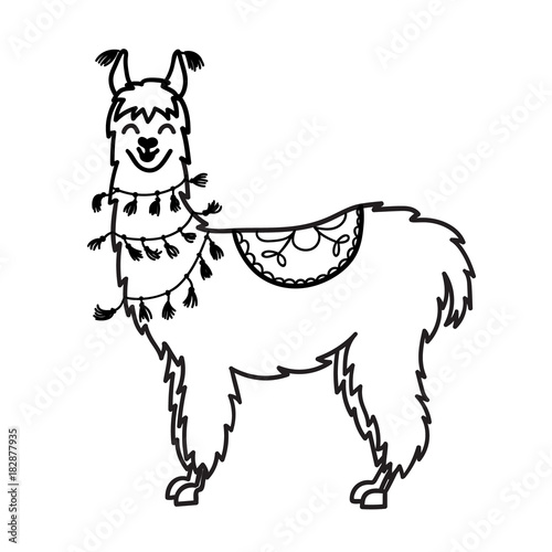 """vector illustration of cute character south america lama"