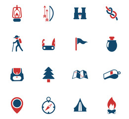 day of scouts color icon set