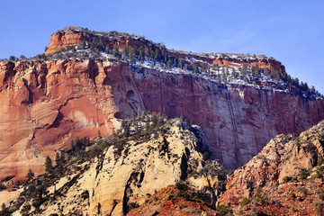 Red Rock Canyon Snow West Temple Zion National Park Utah