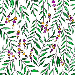 Vector floral pattern in doodle style with flowers and leaves. Gentle, spring floral background.
