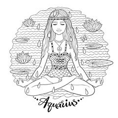 Aquarius zodiac sign line art