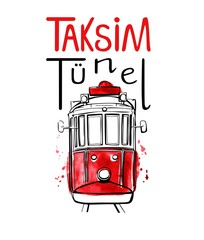 Vector illustration of traditional turkish public transport Taksim Tunel. Hand drawn famous Istanbul tram. Black outline, red watercolor texture and hand lettering. Isolated on white background.