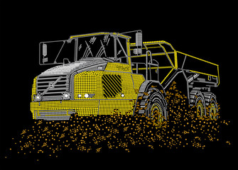 The dump truck goes on dirt