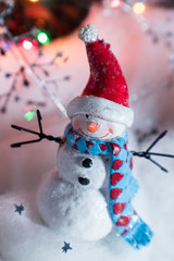 Christmas decorations snowman in winter wonderland scene
