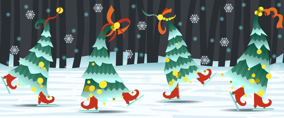 Border with dancing Christmas trees