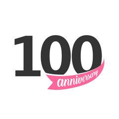 One hundred Anniversary vector logo. Number 100. Illustration for greeting card, invitation, poster, marriage, commemoration, certificate.