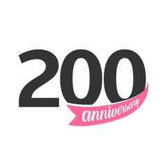 Two hundred Anniversary vector logo. Number 200. Illustration for greeting card, invitation, poster, marriage, commemoration, certificate.