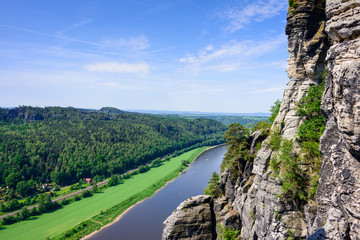 View from the Bastei on the river Elbe, Saxon Switzerland