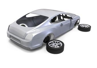 Car parts  / 3D render image representing an car body made of parts
