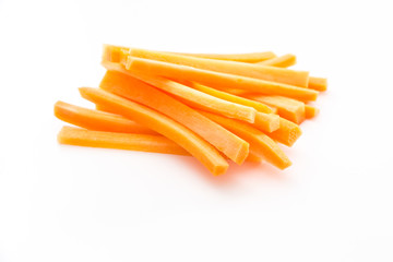 Sliced carrots on white background.