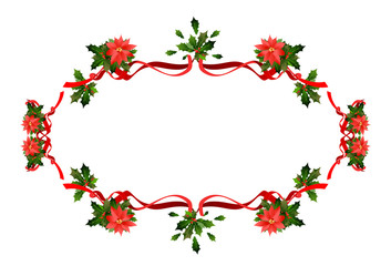 Holiday floral red frame