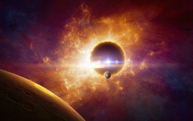 Supermassive extraterrestrial life form in outer space, dark red planet in twisted galaxy