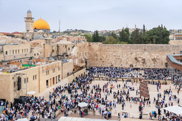 JERUSALEM, ISRAEL - APRIL 2017: Western Wall and Dome of the Rock in the old city of Jerusalem, Israel.