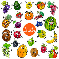 cartoon fruits characters collection