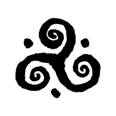 Triskele Buddhist triple spiral symbol. Handmade vector ink painting.