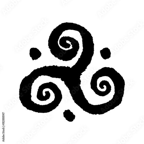 Triskele Buddhist Triple Spiral Symbol Handmade Vector Ink Painting
