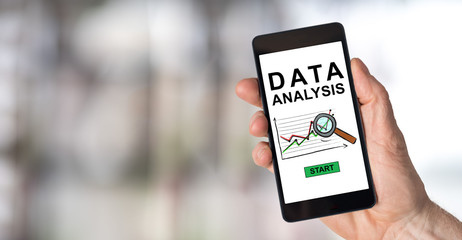 Data analysis concept on a smartphone