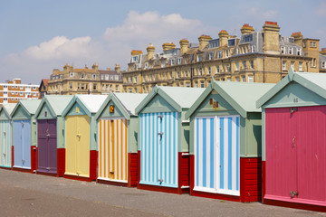 Lots of very colorful bathing huts in Brighton and Hove