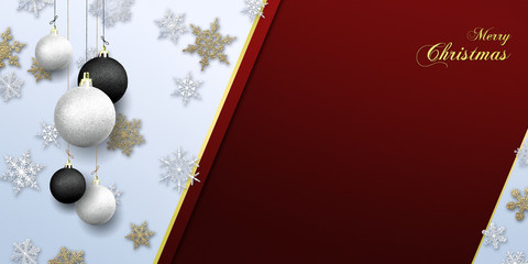 Merry Christmas - banner with gold glitter nad snow snowflakes with baubles ( xmas , holiday )