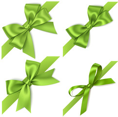 Set of decorative green bows with diagonally ribbon for corner decor. Vector bow isolated on white