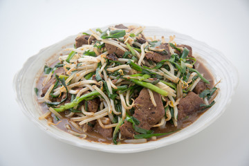 fried beef liver, bean sprout and chinese chive