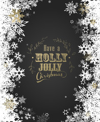 Have a Holly Jolly Christmas with lots of snowflakes on gray background - vertical version
