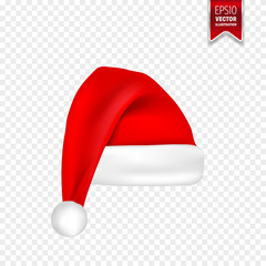 Christmas Santa Claus Hats With Shadow Set. New Year Red Hat Isolated on Transparent Background. Vector illustration.