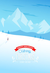 Winter mountain landscape scenery with Santa Claus and Merry Christmas text with pine trees and stars.