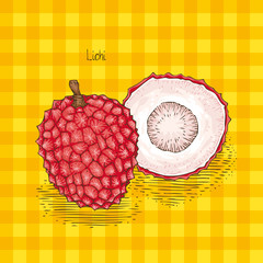 Card with Ripe Red Lychee