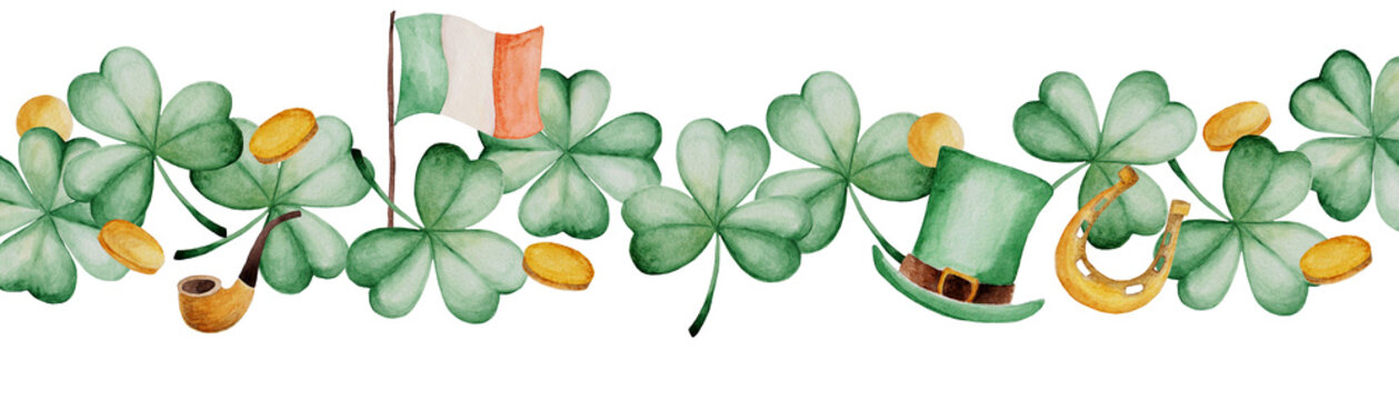 Watercolor Saint Patrick's Day banner. Clover ornament. For design, print or background
