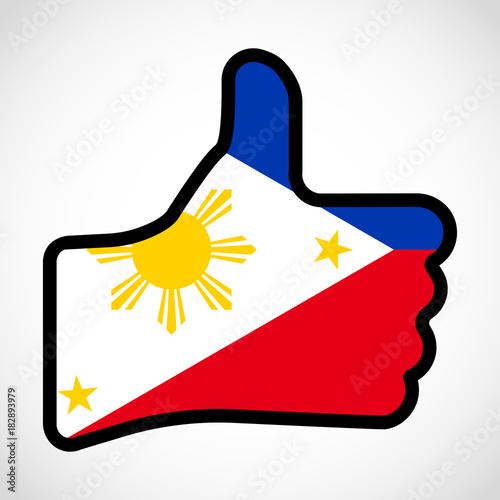 Flag Of Philippines In The Shape Of Hand With Thumb Up Gesture Of