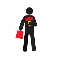 Man going on date silhouette icon