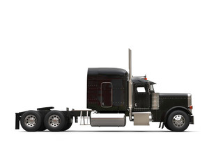 Black 18 wheeler truck - no trailer - side view