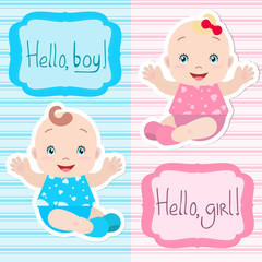 Lovely twins: babies boy and girl sitting, holding out hands, smiling. A frame with an inscription. Card, invitation, baby shower.