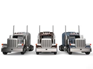 Classic eighteen wheeler trucks in metallic colors