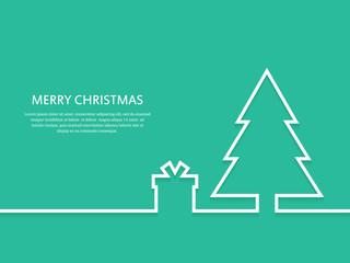 Outline Christmas tree with gift box. Christmas greeting card. Vector illustration.