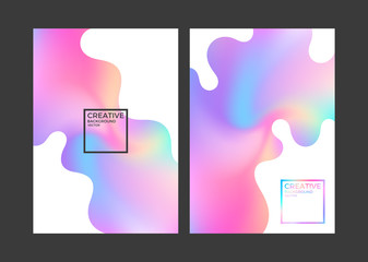 Abstract covers. Vibrant color. Holographic gradient