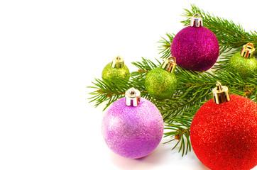 Christmas toys and Christmas tree branch