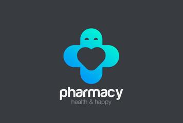 Pharmacy Medical Clinic Cross Logo vector Heart. Medicine icon