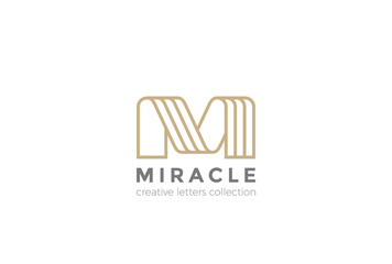 Letter M Logo ribbon design abstract vector Linear style