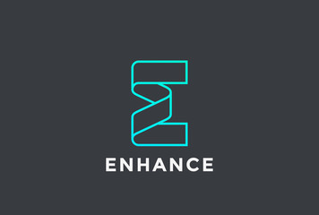 Letter E Logo ribbon design abstract vector Linear style
