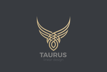 Bull Taurus silhouette Logo vector Linear. Steak house icon
